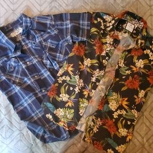 Boys xl and mens small short sleeve button ups